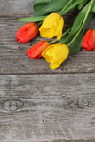 Bouquet of yellow and red tulips Stock Photography