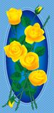 Bouquet of yellow roses. Raster version of vector card with bouquet of yellow roses with drops of dew (contain the Clipping Path Stock Photography