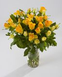 Bouquet of yellow roses. In vase royalty free stock photo