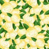 Bouquet of Yellow Roses Random Seamless Pattern. Fresh Floral Background Royalty Free Stock Photography
