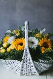 Bouquet of yellow small sunflowers close up royalty free stock photo