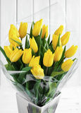 Bouquet of yellow tulips. Large bouquet of yellow tulips stock photography