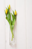 Bouquet of yellow tulips in a glass vase Stock Photography