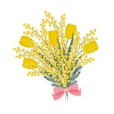 Bouquet of yellow tulips and mimosa on a white background. Spring flowers with a pink bow. Floral composition. Vector illustration Royalty Free Stock Photo