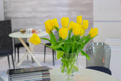 Bouquet of yellow tulips stock image