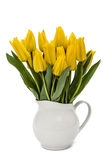 Bouquet from yellow tulips in vase, isolated on white background Stock Photo