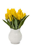 Bouquet from yellow tulips in vase, isolated on white background Royalty Free Stock Photos