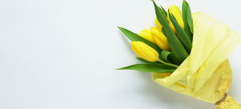 A bouquet of yellow tulips Royalty Free Stock Image
