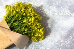 Bouquet of yellow  wildflowers stock images