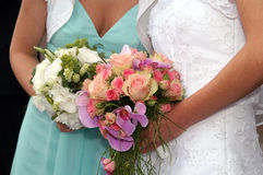 Bouquets. Bride Holding Bouquet from rose stock image