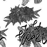 Bouquets avec marquer avec des lettres le modèle sans couture illustration stock