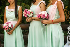 The bouquets  for bridesmaids Royalty Free Stock Photography