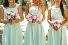 The bouquets  for bridesmaids. The bouquets roses for bridesmaids Stock Photo
