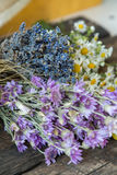 Bouquets of camomile, lavender, wheat and chicory. Stock Photo