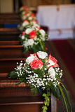 Bouquets in Catholic Church. Royalty Free Stock Images