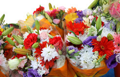 Bouquets of colorful flowers Royalty Free Stock Images