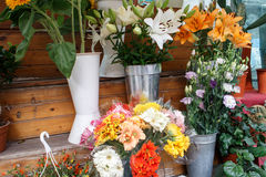Bouquets of colorful flowers from a shop Stock Image