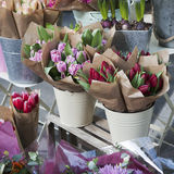 Bouquets of colorful spring flowers. tulip, ranunculus, hyacinth Stock Images