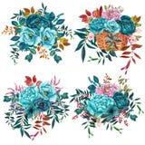 Bouquets d'aquarelle avec des fleurs de sarcelle d'hiver d'isolement sur le fond blanc illustration libre de droits