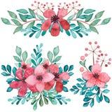 Bouquets d'aquarelle avec les fleurs et l'Emerald Leaves rouges Images libres de droits