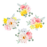 Bouquets of dahlia, rose, narcissus, anemone, pink flowers and eucalyptus leaves Stock Photos