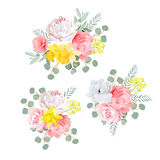 Bouquets of dahlia, rose, narcissus, anemone, pink flowers and eucalyptus leaves. Royalty Free Stock Image