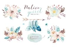 Bouquets de fleurs d'aquarelle réglés avec des plumes Copie organique de conception de plume de couleur pour aquarelle Illustrati illustration de vecteur