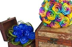 Bouquets et boîtes de mariage Photographie stock
