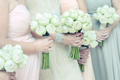 Bouquets in females hand Stock Photo