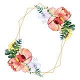 Bouquets floral botanical flowers. Watercolor background illustration set. Frame border crystal ornament square. stock illustration