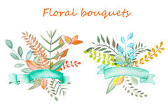 Bouquets of floral elements with ribbons. Floral bouquets with ribbons painted in watercolor on a white background, greeting card, decoration postcard or Royalty Free Stock Images