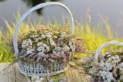 Bouquets of flowers in baskets Royalty Free Stock Image