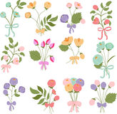 Bouquets of flowers with bows Royalty Free Stock Images