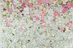 Bouquets of flowers decorated the backdrop Stock Photos