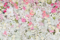 Bouquets of flowers decorated the backdrop Royalty Free Stock Image