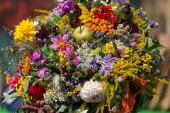 Bouquets of flowers and herbs Stock Photo