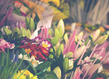 Bouquets of Flowers Outside a Flower Shop. Flowers For Sale On Street In City Royalty Free Stock Photography