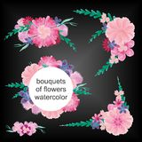 Bouquets of flowers watercolor Royalty Free Stock Photos
