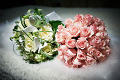 Bouquets of flowers white and pink roses Stock Image