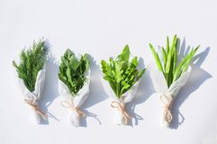 Bouquets of fresh greens for salad packed in white paper on a white background isolated. Close-up Royalty Free Stock Image