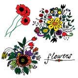 Bouquets hand drawn doodle set Stock Photo
