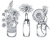 Bouquets with hand drawn flowers and plants in vases jars. stock illustration