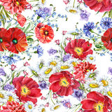 Bouquets meadow flowers , pattern seamless. Bouquets meadow flowers  pattern seamless white background  handmade watercolor Stock Images