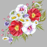 Bouquets meadow flowers , watercolor. Bouquets meadow flowers  gray background  handmade watercolor Royalty Free Stock Image
