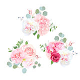 Bouquets of rose, peony, camellia, hydrangea and eucalyptus. Elegant vector floral design. Pink, white and red wedding flowers and delicate leaves. All Royalty Free Stock Image