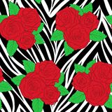 Bouquets of roses on animal zebra abstract print.� Stock Photos
