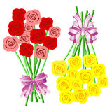 Bouquets of Roses with Bows and Ribbons Royalty Free Stock Images