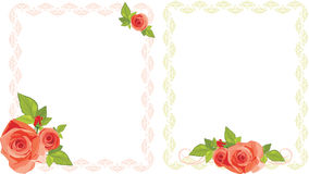 Bouquets of roses in decorative frames Stock Photography