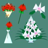 Bouquets of roses and orchids stock illustration
