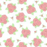 Bouquets of roses Seamless pattern Stock Image